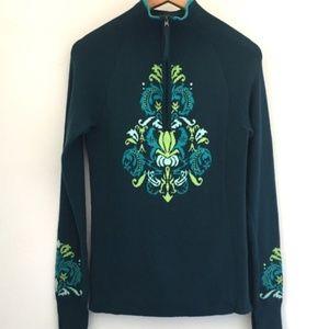 Athleta voke sweater teal blue s 1/4 zip